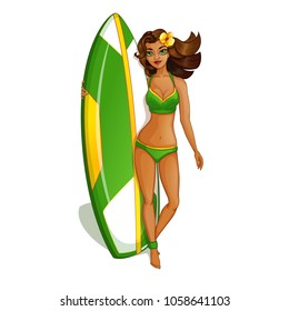 A beautiful surfer girl in a green swimsuit is standing near the surfboard. Recreation and sports in the Hawaiian Islands. Vector illustration of a character in a cartoon style.
