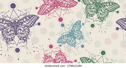Beautiful Swallowtail. Butterflies seamless pattern. Packing old paper, scrapbooking style. Vintage background. Medieval manuscript, engraving art. Mystical esoteric symbol of freedom, travel, tourism