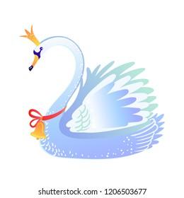 Beautiful swan. Christmas cartoon illustration from Nutcracker's story. Cute bird from winter tale. Vector illustration.