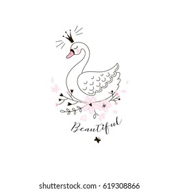 beautiful swan princess, doodle illustration