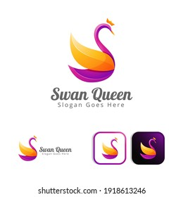 beautiful swan queen logo concept design