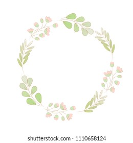 beautiful sweet cute pastel minimal tiny pink flower with green leafs wreath frame with copy space on white background isolated EPS10 vector illustration
