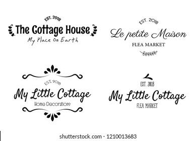 Beautiful sweet home decor printable vector illustrations set
