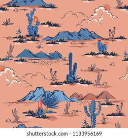Beautiful sweet pastel Seamless pattern vector summer cactus on desert mix with beautiful blooming succulents flower for fashion fabric and all prints on pink  background.