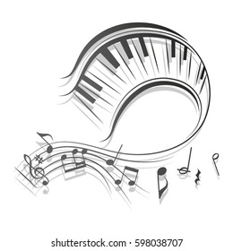 Beautiful swirl stave with piano keys in vector format./Wavy musical scores and notes vector illustration.