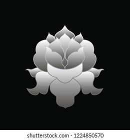 Beautiful and symmetrical lotus flower in line art style with simple gradient on black background