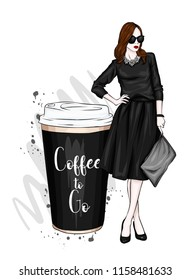 A beautiful, tall girl with long legs in a stylish skirt, glasses, blouse and in high heeled shoes. Fashionable look. Cup coffee. Clothes and accessories. Vector illustration.
