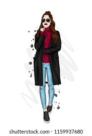 Beautiful, tall and slender girl in a stylish coat, trousers, and glasses. Stylish woman in high-heeled shoes. Fashion & Style. Vector illustration.