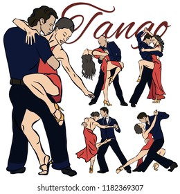 beautiful tango dancers set