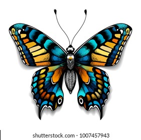 Beautiful tattoo for your chest. Blue Machaon butterfly. Tropical realistic butterfly with shadow. Female symbol.