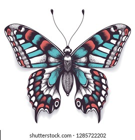 Beautiful tattoo for your chest. Machaon butterfly. Tropical realistic butterfly with shadow. Female symbol. Symbol of immortality and transformation. Boho style