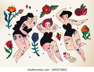 Beautiful tattooed women. Colored vector set. All elements are isolated