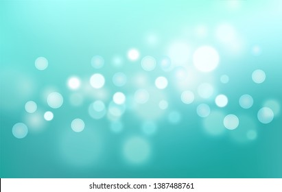 Beautiful Teal soft gradient background with bokeh effect. Blurred turquoise smooth backdrop. Vector illustration for your graphic design, banner, wallpapers, poster, card