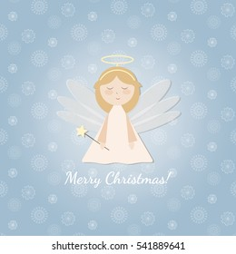 Beautiful template for Christmas card. Decorative elements. Christmas background with angel and snowflake. Vector.