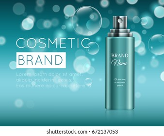 A beautiful template for cosmetic ads, realistic 3d blue tube on a blue shiny background with water bubbles and bokeh ready for design and print. Beauty hair care product