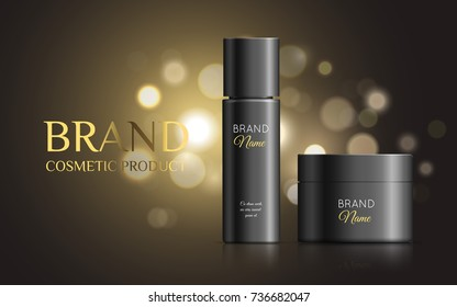 A beautiful templates for cosmetic ads, realistic 3d black jar with cosmetic matte tube for spray and cream on a gold shiny background with bokeh. Vector illustration, eps10