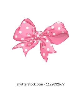 A beautiful tender pink bow with a polka-dot pattern. Vector cartoon element for decorating a holiday gift or greeting card. On a white background.