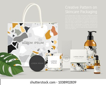 Beautiful Terrazzo Pattern on Skincare Packaging Template : Vector Illustration
