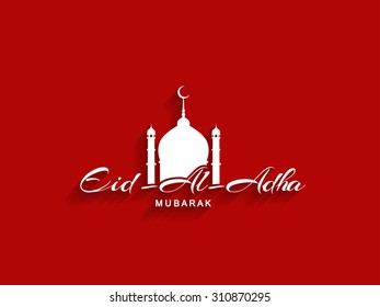 Beautiful text design of Eid Al Adha mubarak on red color background.