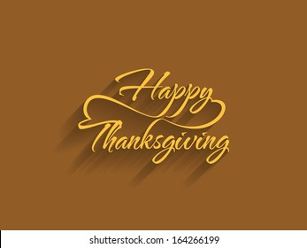 beautiful text design of happy thanksgiving on brown color background. vector illustration