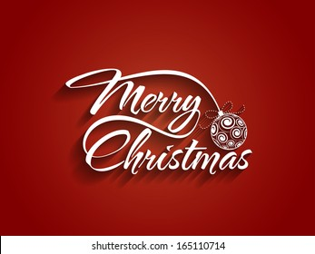 Beautiful text design of Merry Christmas on red color background. vector illustration