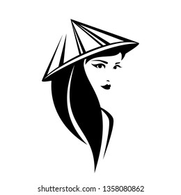 beautiful thai woman with long black hair wearing traditional asian conical hat vector portrait