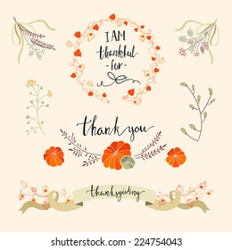 Beautiful thanksgiving element collection with flowers, pumpkins, ribbons and wreaths