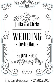 Beautiful thin line ornamental frame Wedding invitation. Vector illustration.