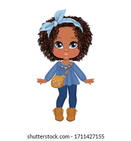 Beautiful toddler girl with set of clothes. Paper doll for dress up game. Isolated vector illustration.