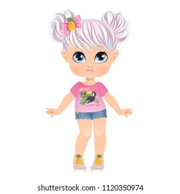 Beautiful Toddler Girl in Underwear with set of clothes. Paper Doll for Dress Up Game. Isolated vector illustration.