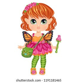 Beautiful toddler girl in underwear with set of clothes for masquerade. Paper doll for dress up game. Isolated vector illustration.