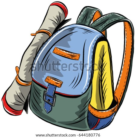 Beautiful Tourist Backpack On White Background Stock Vector (Royalty ... ca321e6304e11