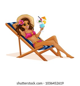 A beautiful tourist girl in a swimsuit resting on a deckchair with a cocktail in her hands. Vector beach illustration. Holidays in the Hawaiian Islands. Character in the cartoon style