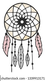 A beautiful traditional dream Cather used in native American culture as protective charm vector color drawing or illustration