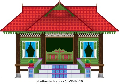 A beautiful traditional wooden Malay style village house. Isolated.