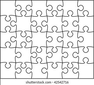 Beautiful transparent jigsaw puzzle vector 5x6