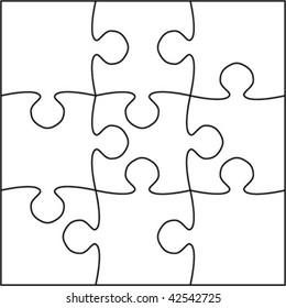 Beautiful transparent jigsaw puzzle vector 3x3