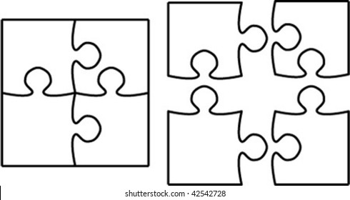 Beautiful transparent jigsaw puzzle vector 2x2, image applicable to several concepts