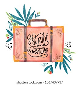 Beautiful travel quote with watercolor illustration