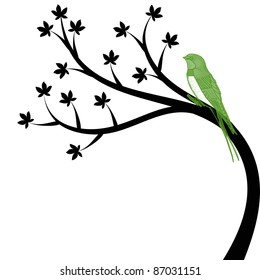Beautiful tree and bird isolated on white background