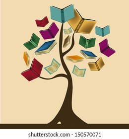 a beautiful tree composed by books representing knowledge