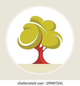 Beautiful tree - creative illustration. Abstract green oak sign. Nature object. Vector logo template. Design element.