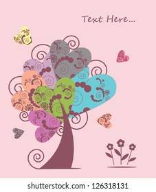Beautiful tree of hearts with flowers
