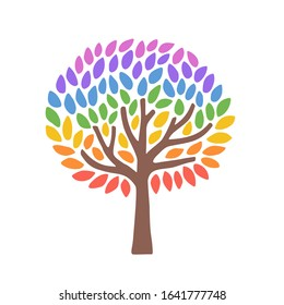 Beautiful tree with rainbow leaves as a symbol of diversity