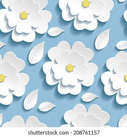Beautiful trendy background seamless pattern blue with white blossoming 3d flower sakura and leaves. Floral modern wallpaper. Vector illustration
