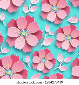 Beautiful trendy colorful seamless pattern. Bright background, decorative pink, red 3d sakura flower, japanese cherry tree blossom cut paper. Floral stylish modern wallpaper. Graphic design, vector