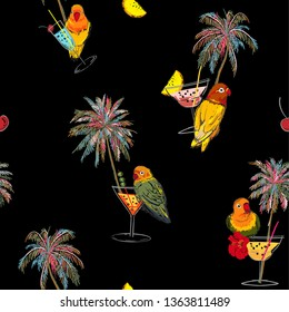 Beautiful trendy Dark Tropical in colorful seamless pattern. Hand drawn palm trees, cocktail, pink parrots bird, summer birds on black background.