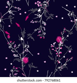 Beautiful Trendy  Floral pattern in the many kind of flowers.Botanical  Motifs scattered random. Seamless vector texture. For fashion prints. Printing with in hand drawn style on navy blue background.