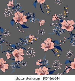 Beautiful and trendy garden soft pink flower with blue leaves seamless pattern vector fofashion fabric and all prints on light grey background.