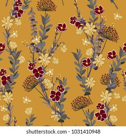 Beautiful and trendy hand drawing seamless pattern vintage hand drawing softy Blooming garden florals for textile decor and design. botanical wallpaper on stylish orange background.